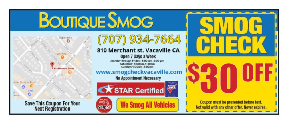 Vacaville Smog Check Coupon